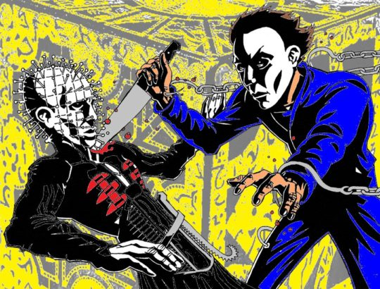 _michael_myers_verses_pinhead_colored_by_steveirwinfan96-d4n2xdf